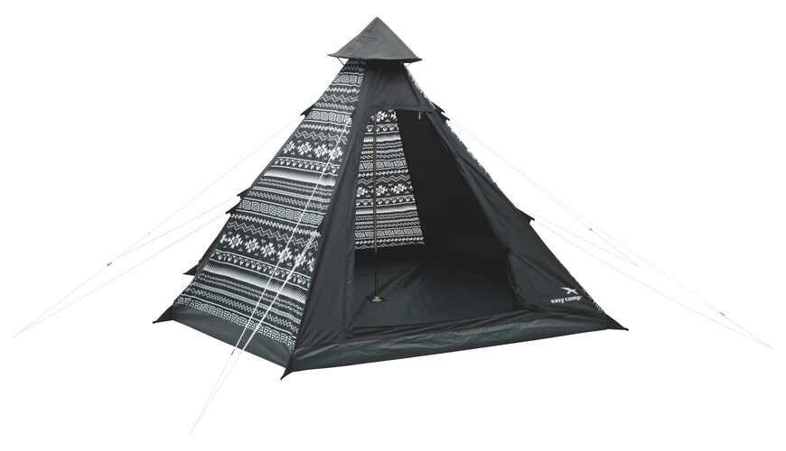 Easy Camp Tipi Tribal Black & White Telt sort